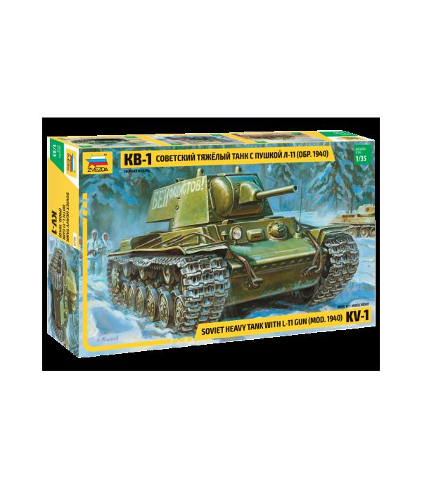 Советский тяжелый танк КВ-1 образца 1940 г. с пушкой Л-11 ЗВЕЗДА 3624