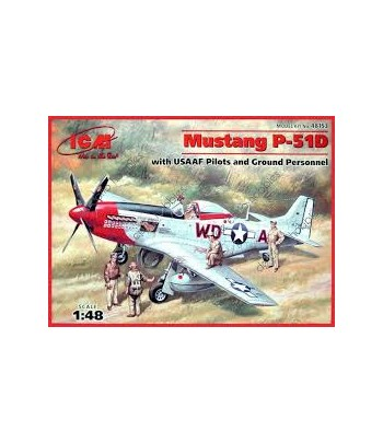 Mustang Р-51D с пилотами и техниками ВВС США ICM 48153