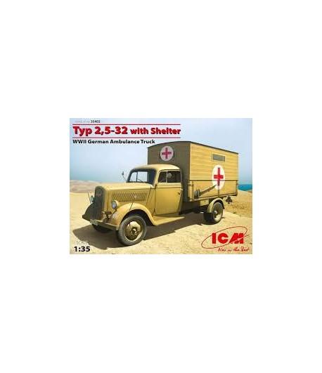 Тур 2,5-32 с санитарной будкой, германский санитарный грузовик 2 МВ ICM 35402