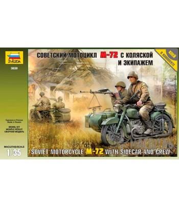 Советский мотоцикл М-72 с коляской и экипажем ЗВЕЗДА 3639
