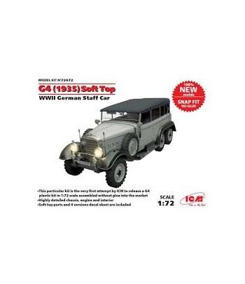 Германский автомобиль II МВ G4 (1935г.) с тентом, (сборка без клея) ICM 72472