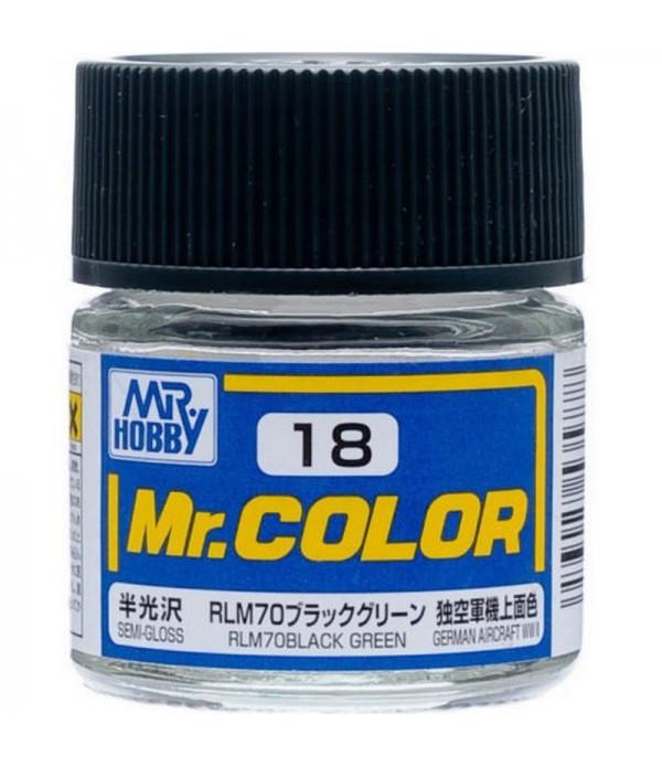 C18  краска художественная MR.HOBBY 10мл RLM70 BLACK GREEN