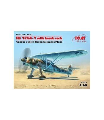"""Hs 126A-1 с бомбодержателем. Самолет-разведчик Легиона """"Кондор"""" ICM 48213"""