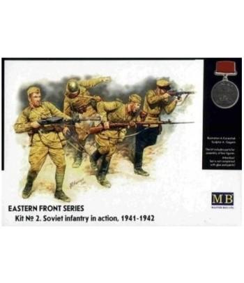 Фигуры Серия Восточный Фронт. Набор № 2. Советская пехота в действии, 1941-1942 3523 MASTERBOX 3523