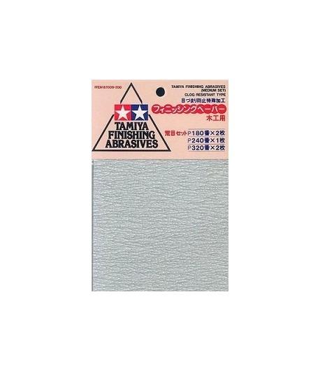 Набор шлифовальной бумаги #180-2шт, 230-1шт, 240-2шт TAMIYA 87009