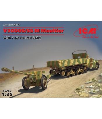 V3000S/SS M Maultier с немецкой противотанковой пушкой 7,62 cm Pak 36(r) ICM 35803