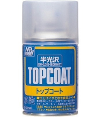 B-502 Лак-спрей Mr.Top Coat - semi gloss Spray 86 мл GUNZE SANGYO