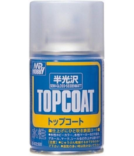 B-502 Лак-спрей Mr.Top Coat - semi gloss Spray 86 мл GUNZE SANGYO