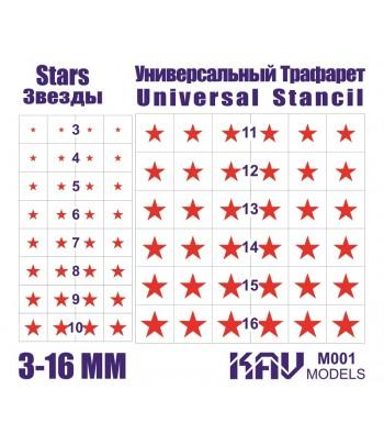 Звезды - Универсальный трафарет KAVmodels KAV M001